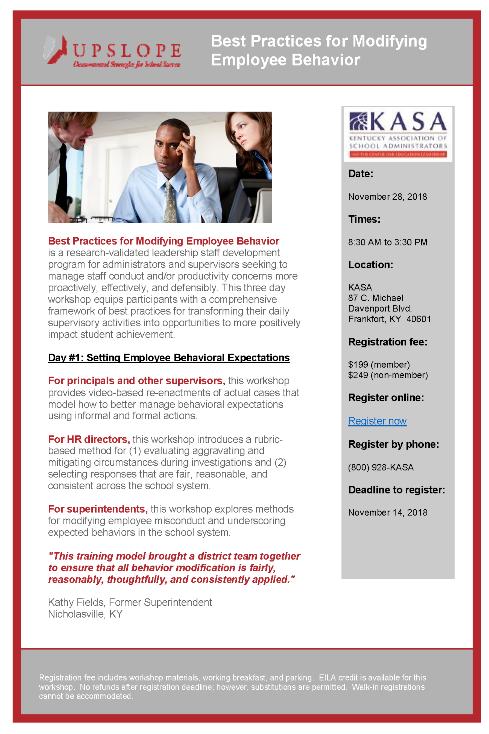 Best Practices for Modifying Employee Behavior @ KY