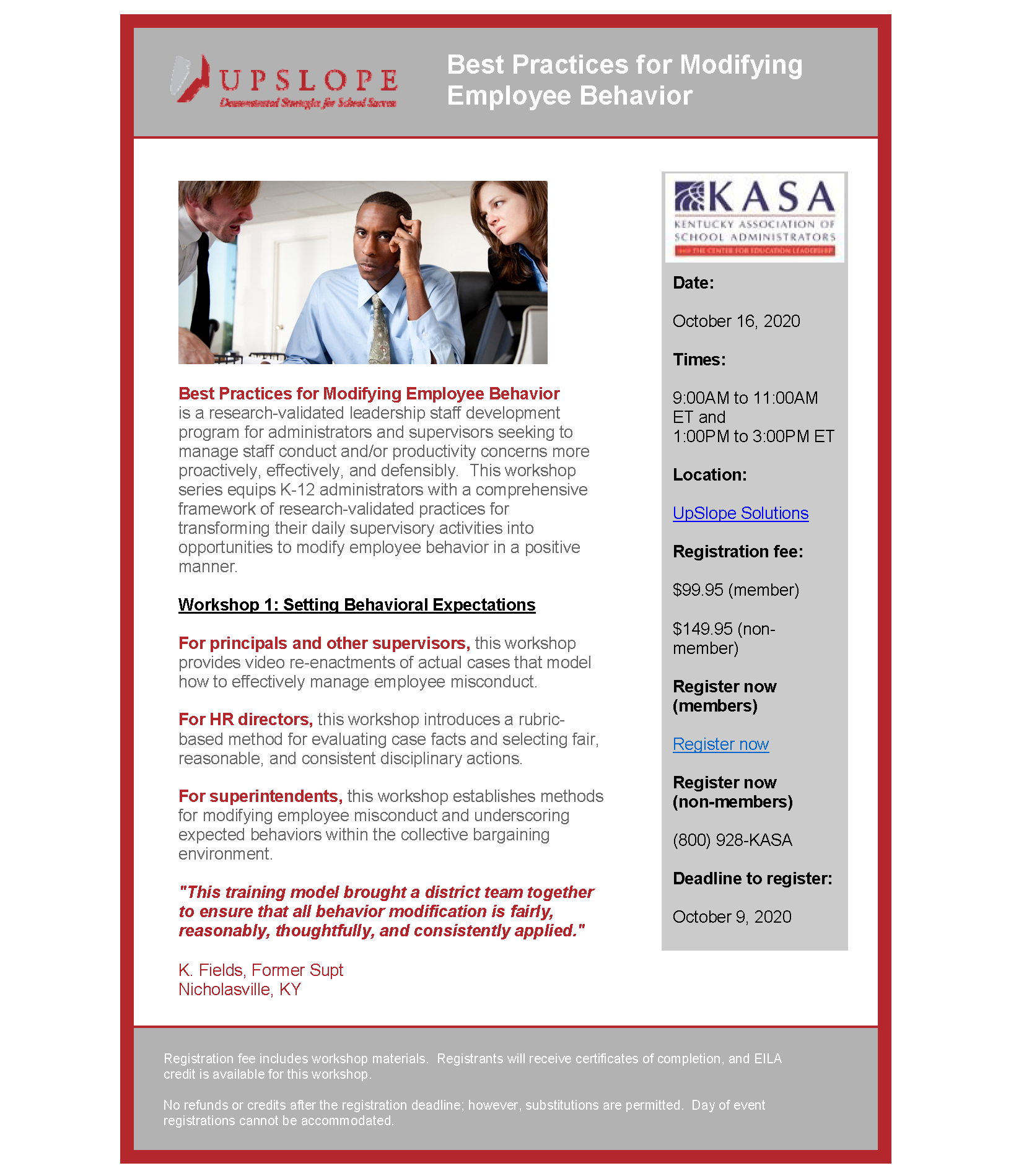 Best Practices for Modifying Employee Behavior @ KASA