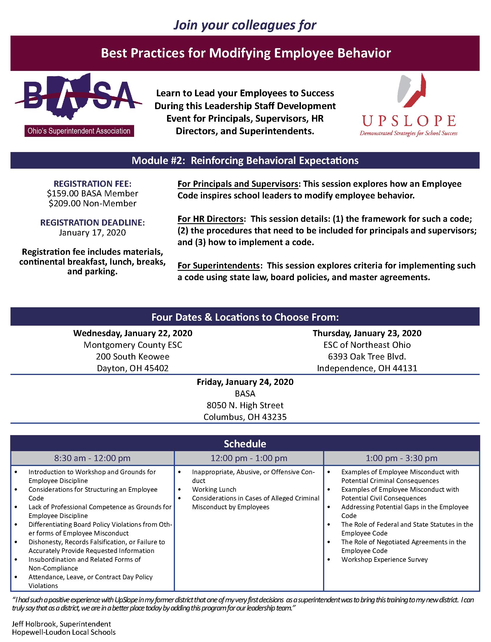 Best Practices for Modifying Employee Behavior @ BASA